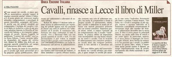 UNICA EDIZIONE ITALIANA: Cavalli, rinasce a Lecce il libro di Miller