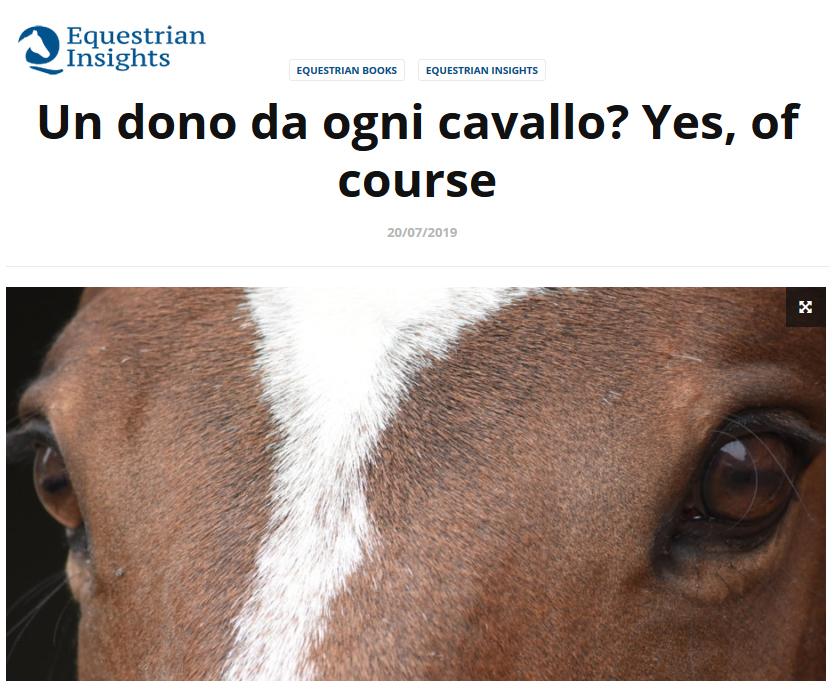 """""""Un dono da ogni cavallo"""" recensione su Equestrian Insights"""